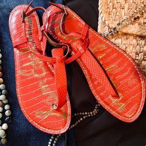 "Coral Faux Snake Pattern Sandals by ""Sam Edelman"""